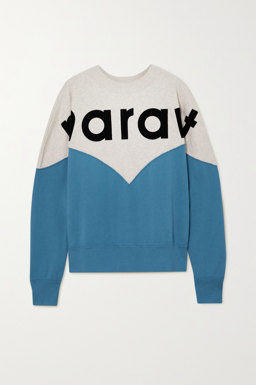 Isabel Marant Étoile Houston flocked color-block cotton-blend jersey sweatshirt