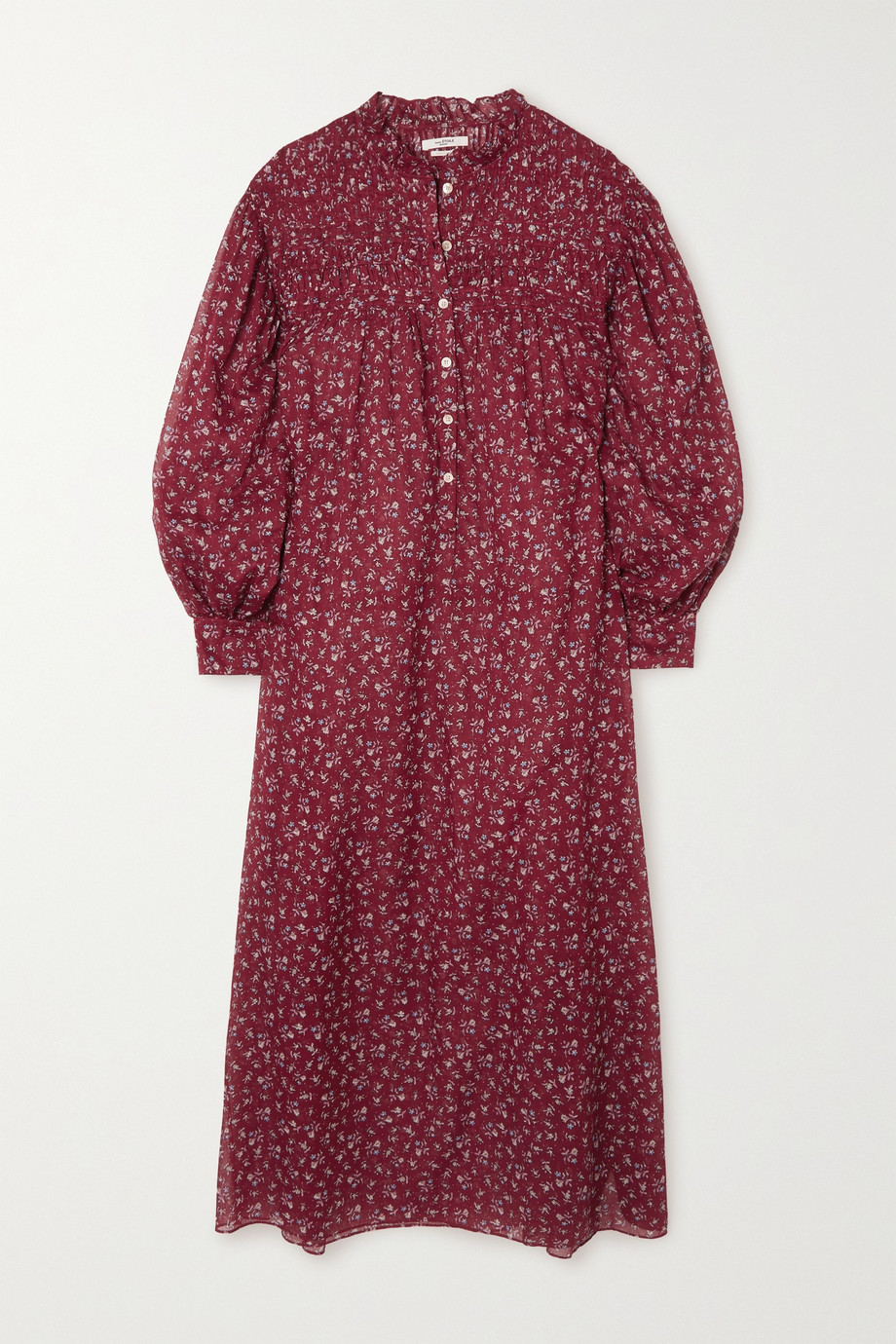 Isabel Marant Étoile Perkins Midikleid aus Baumwoll-Voile mit Blumenprint und Raffungen