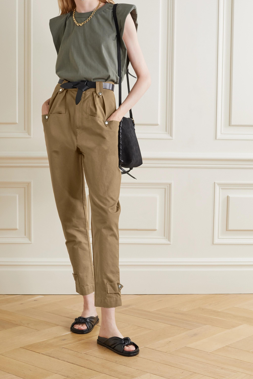 Isabel Marant Étoile Pulcie suede-trimmed cotton-canvas tapered pants