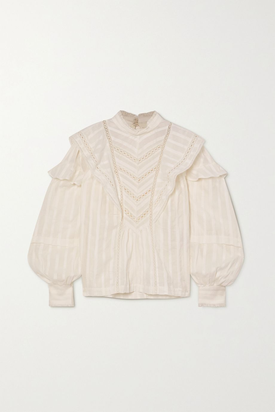 Isabel Marant Étoile Reign lace-trimmed ruffled cotton-jacquard blouse