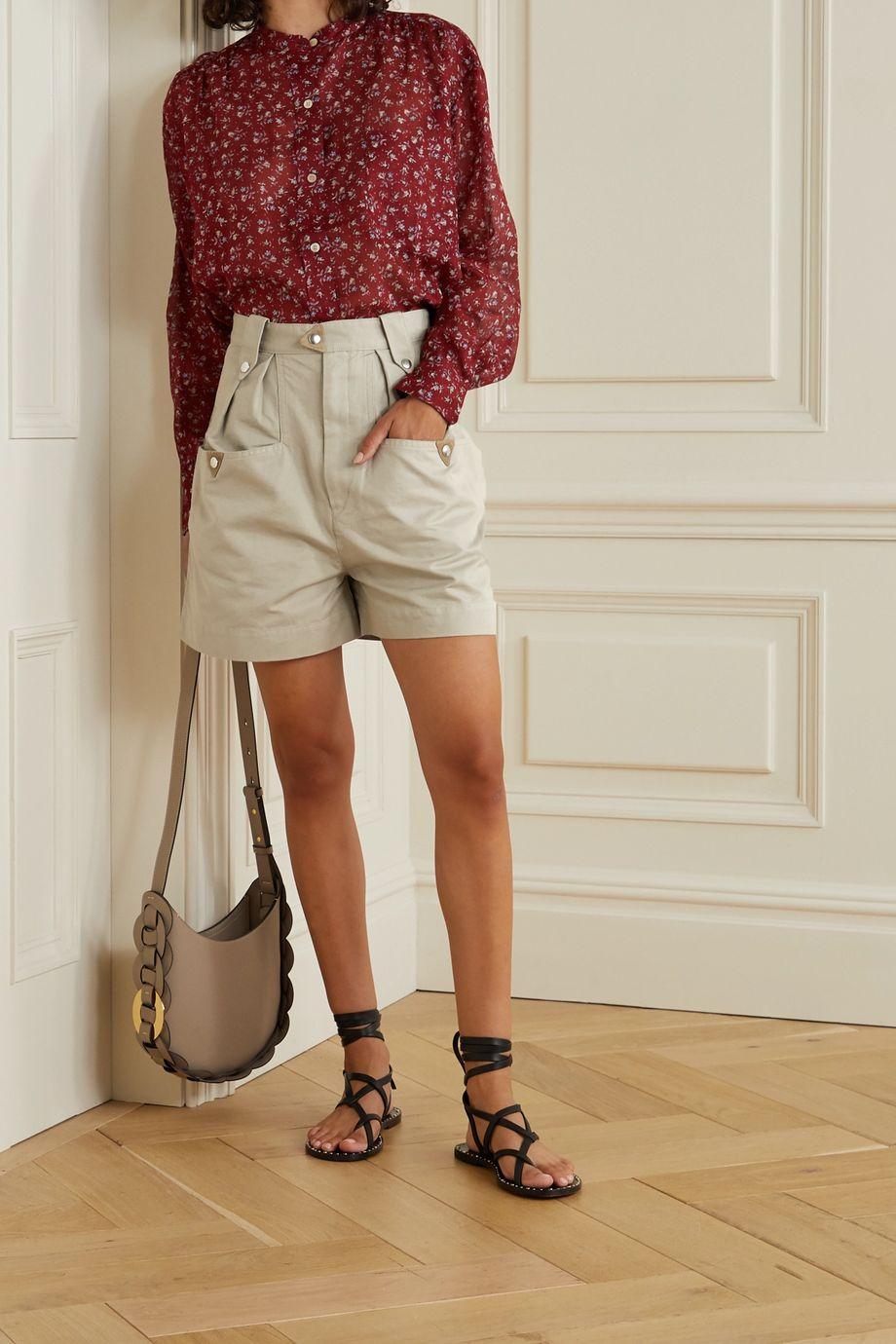 Isabel Marant Étoile Palino Shorts aus Baumwolle mit Velourslederbesätzen