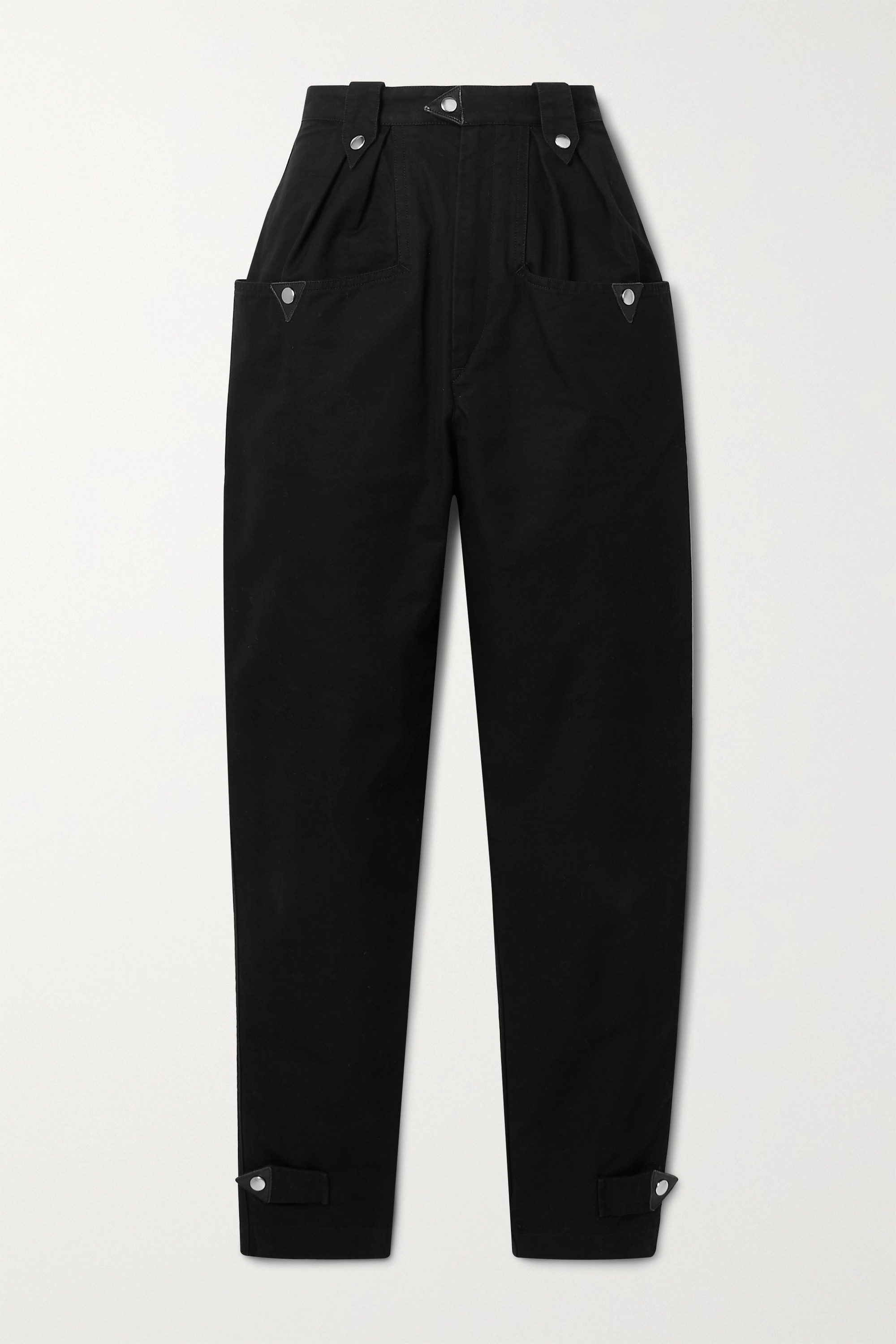 Isabel Marant Étoile Pulcie suede-trimmed cotton tapered pants