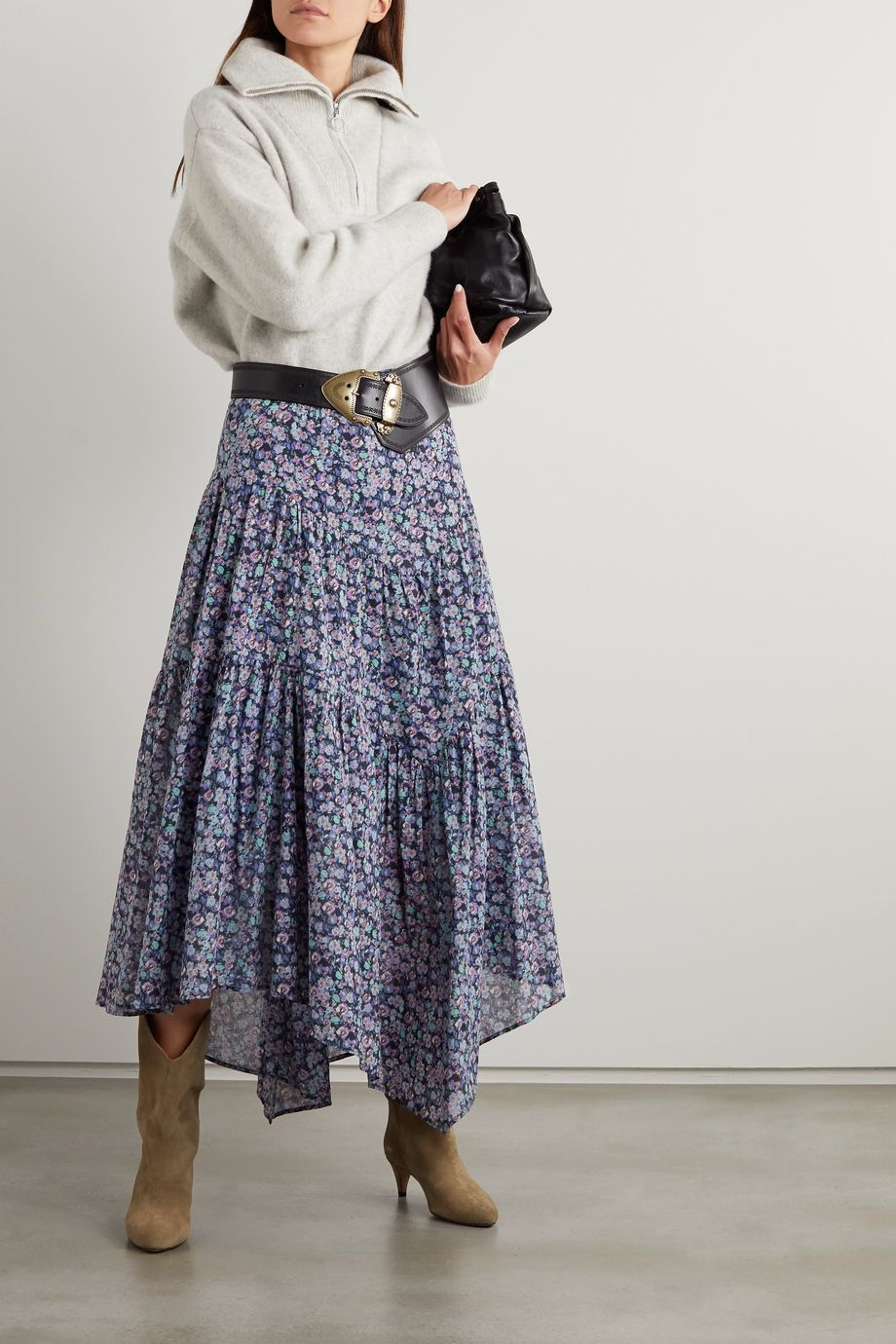 Isabel Marant Étoile Pabna asymmetrischer Midirock aus Baumwoll-Voile mit Blumenprint