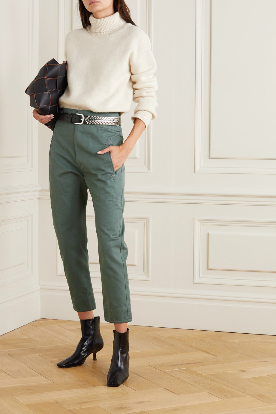 Isabel Marant Étoile Raluniae cropped suede-trimmed cotton-canvas tapered pants