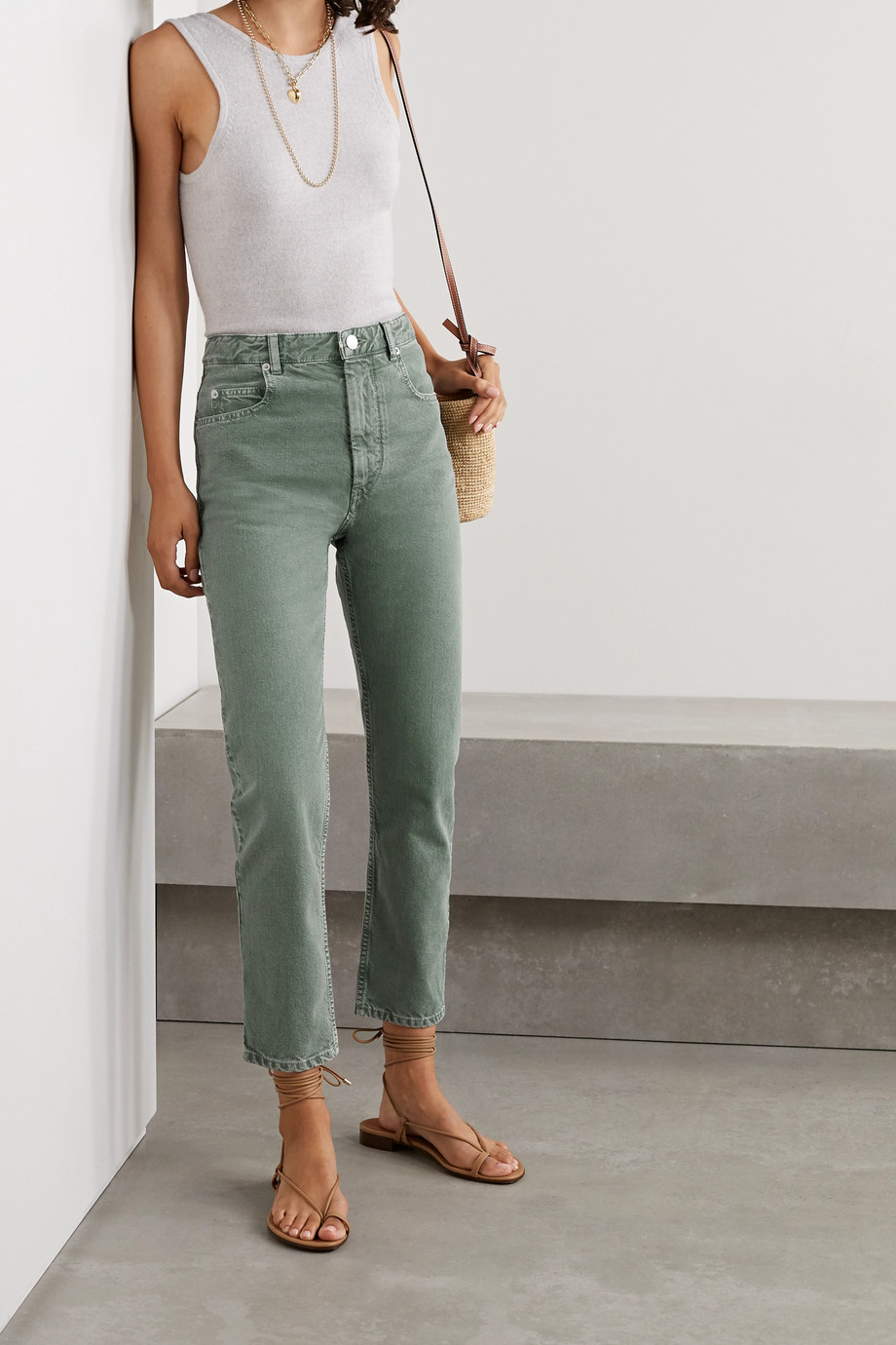 Isabel Marant Étoile Neac cropped high-rise slim-leg jeans