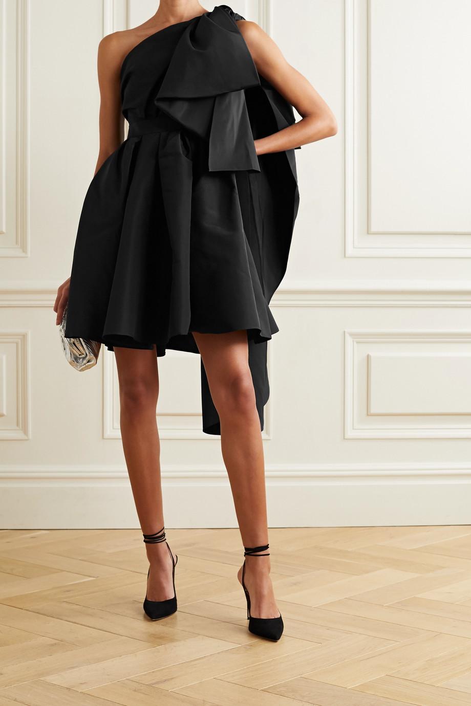Carolina Herrera Minikleid aus Seiden-Faille mit asymmetrischer Schulterpartie und Raffungen