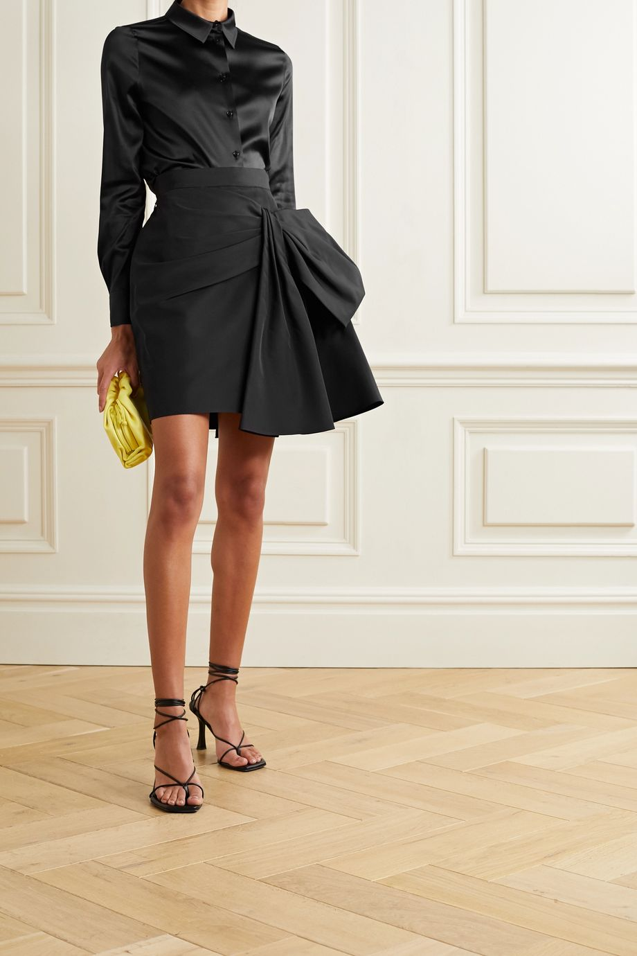 Carolina Herrera Bow-embellished silk-faille mini skirt
