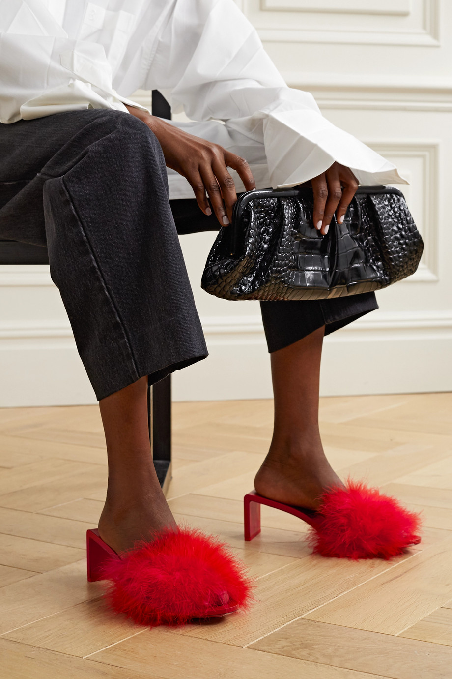 Balenciaga Mono feather-embellished leather mules