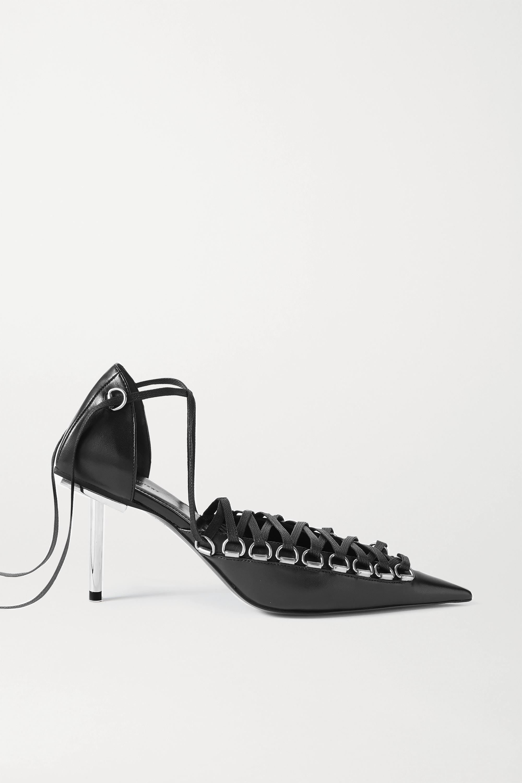 Black Corset lace-up leather pumps