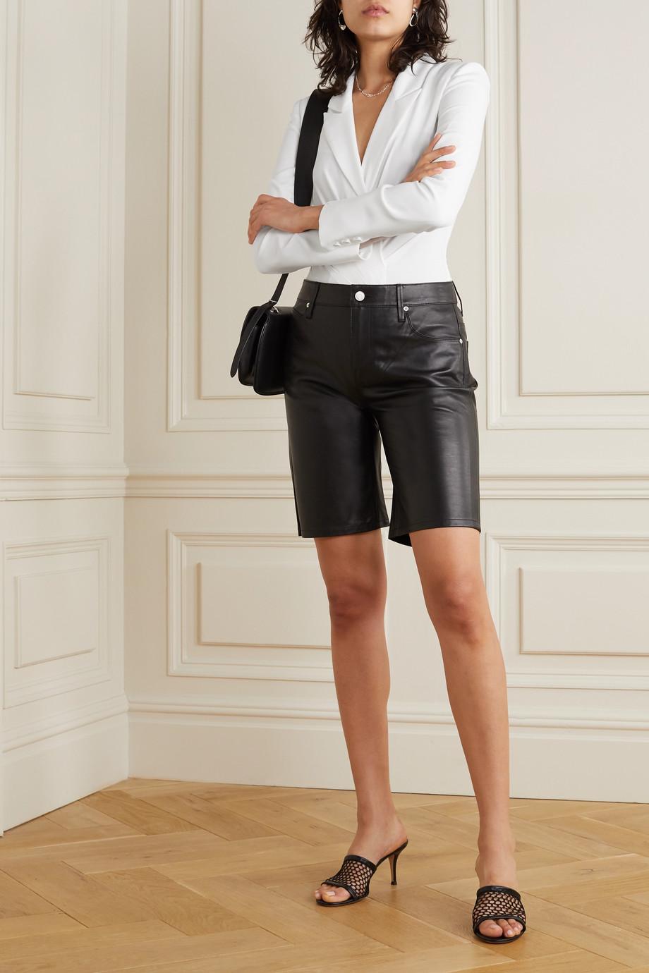 RtA Maryse silk-twill and stretch-tulle bodysuit