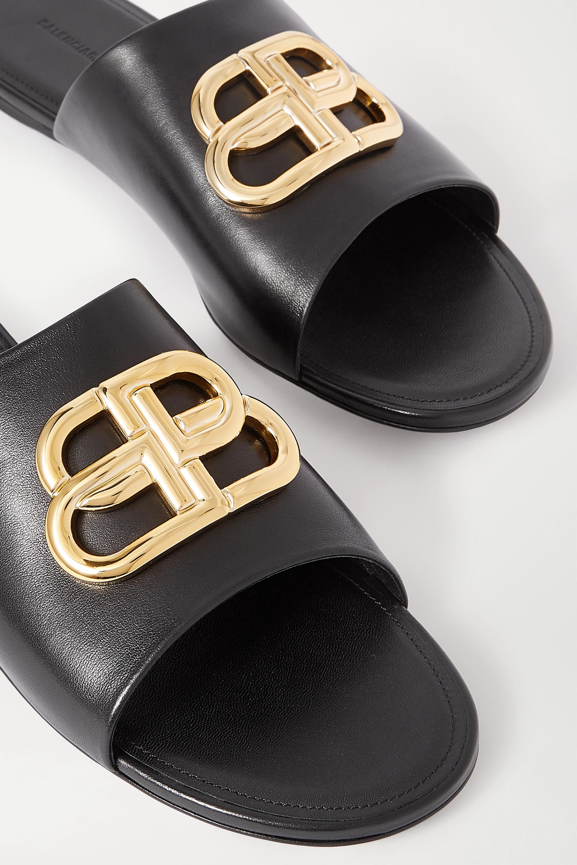 Balenciaga Oval BB logo-embellished leather slides