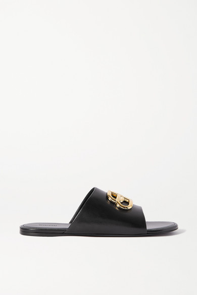 Balenciaga Oval Bb Logo-embellished Leather Slides In Black