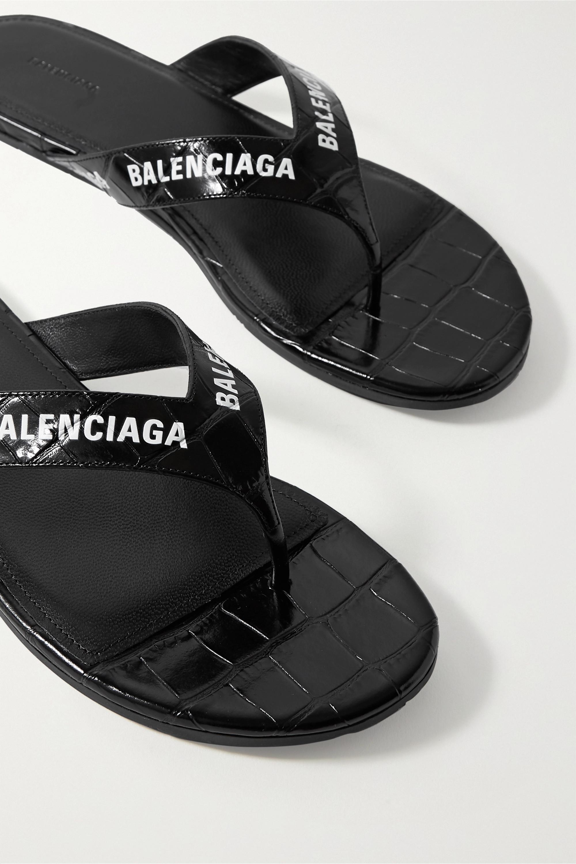 Balenciaga Tongs en cuir effet croco à logo
