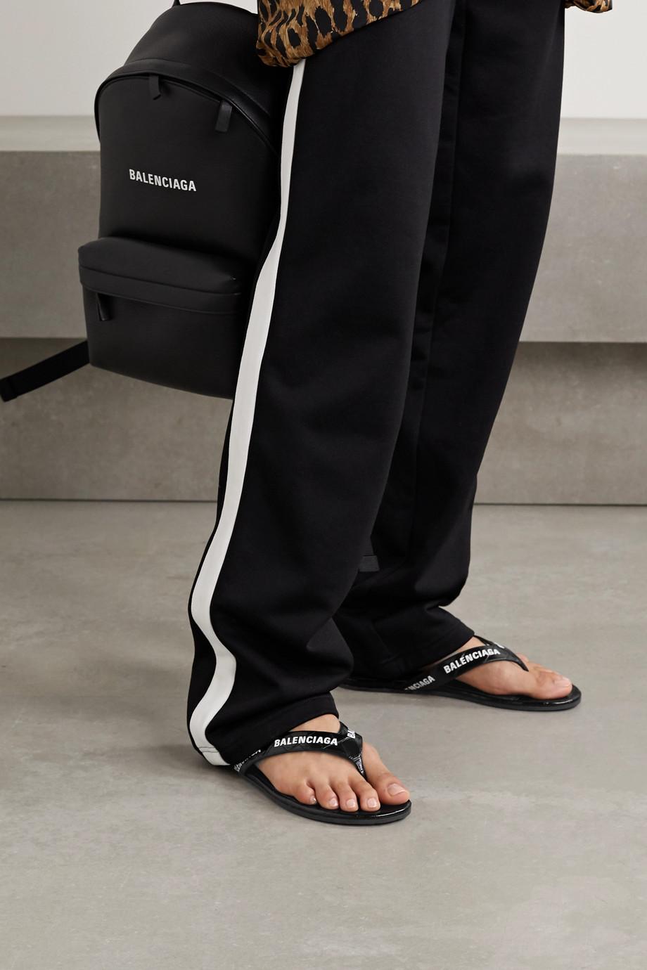 Balenciaga Logo-print croc-effect leather flip flops