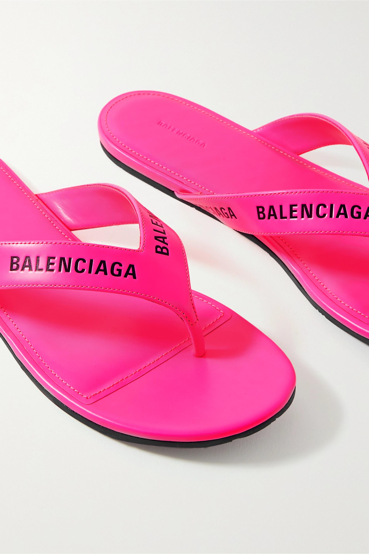 Balenciaga Logo-print neon-leather flip flops