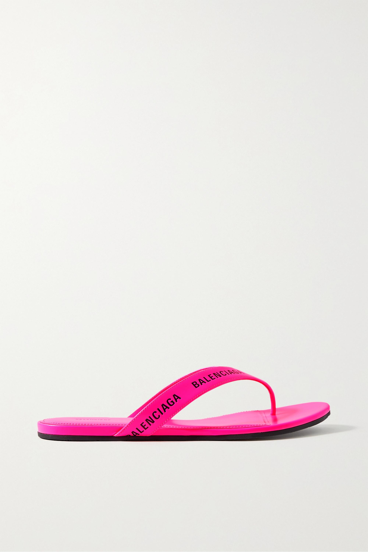 Pink Logo-print neon-leather flip flops