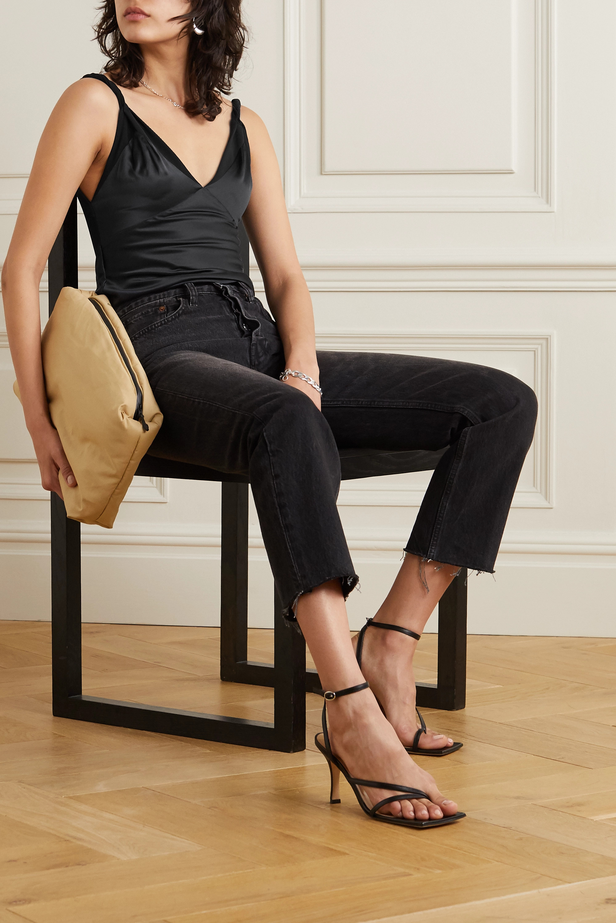 RtA Livia silk-satin and stretch-tulle bodysuit