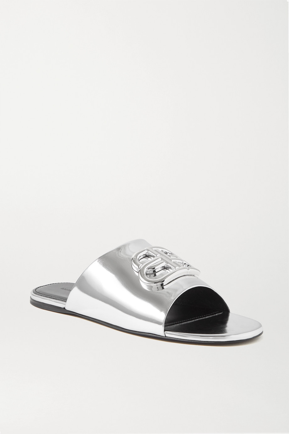 Balenciaga Oval BB logo-embellished mirrored-leather slides