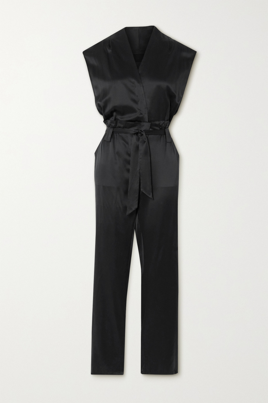 RtA Cynthia belted wrap-effect silk-satin jumpsuit