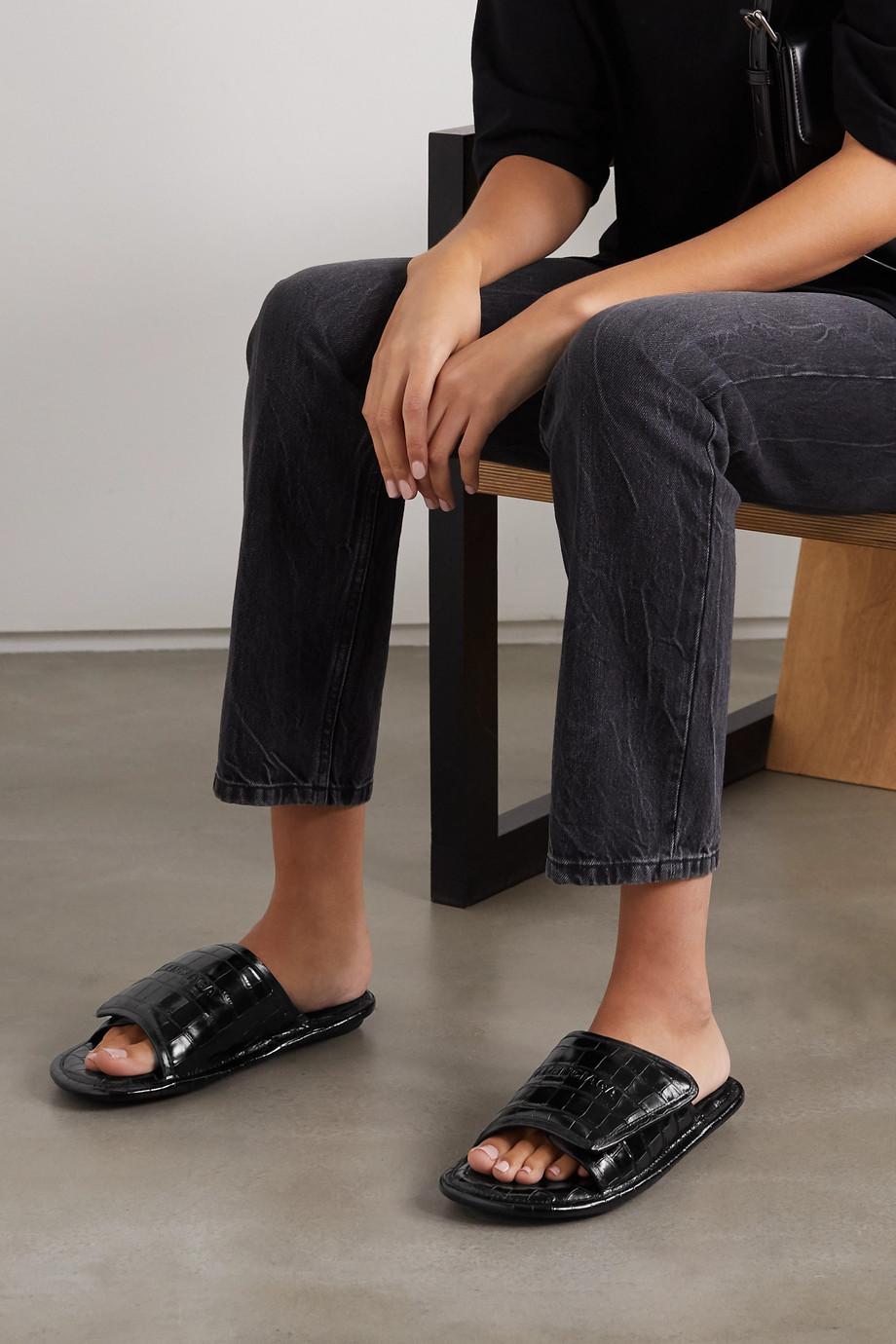 Balenciaga Home croc-effect leather slides