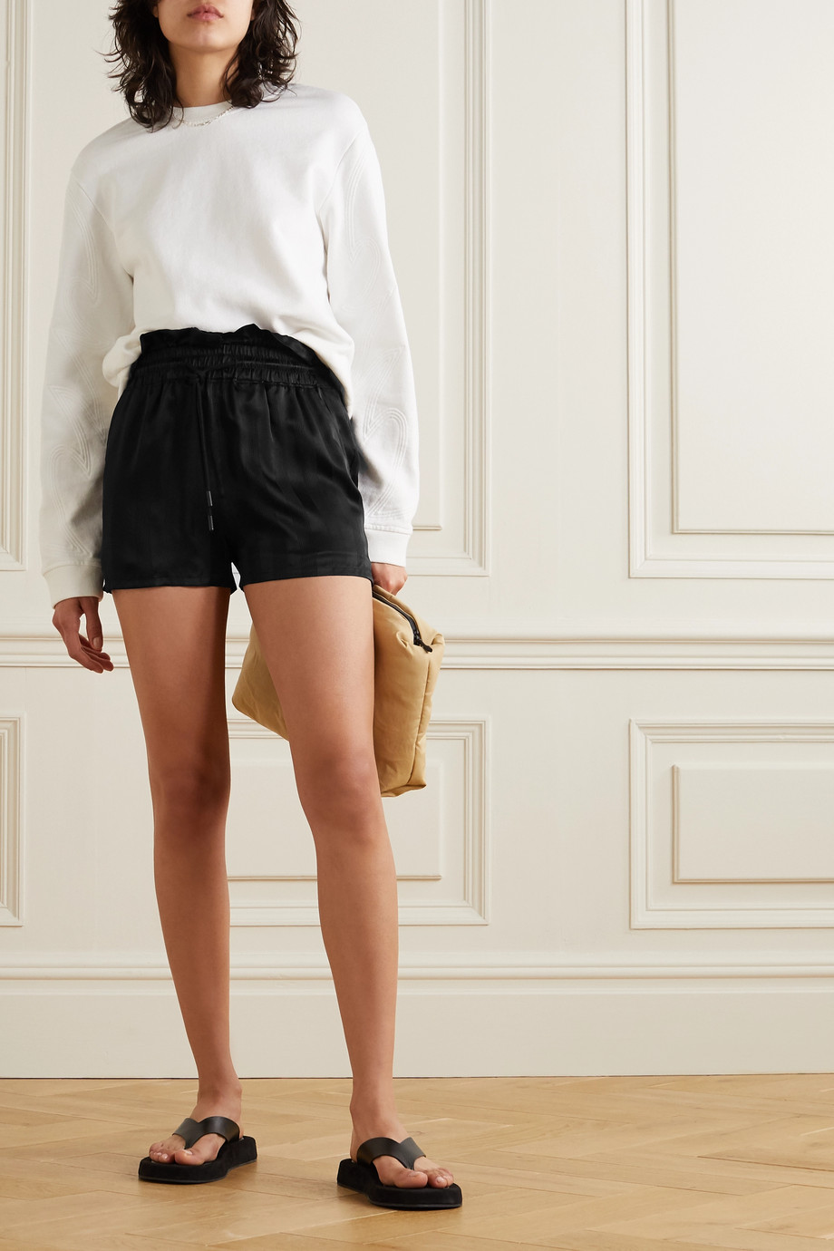 RtA Tara striped silk-satin shorts