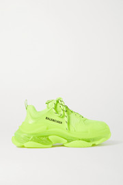 Balenciaga Triple S Clear Sole logo-embroidered faux leather, foam and mesh sneakers