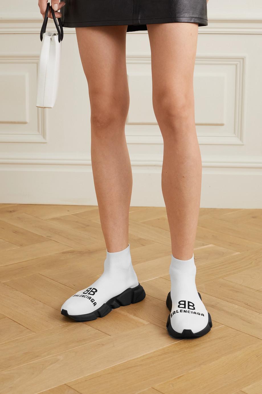 Balenciaga Speed LT logo-jacquard stretch-knit high-top sneakers