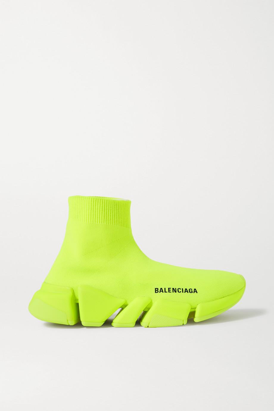 발렌시아가 스피드러너 2.0 여성용 - 네온 그린 Balenciaga Speed 2.0 stretch-knit high-top sneakers,Yellow