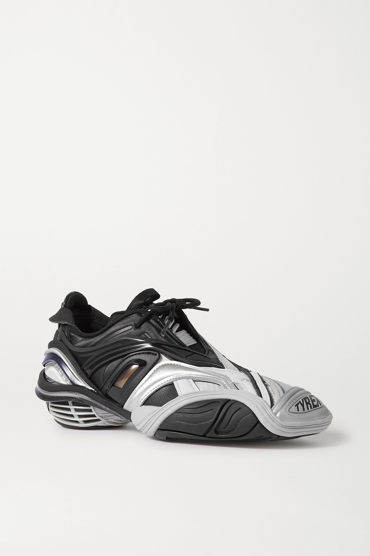 Balenciaga Tyrex logo-print metallic rubber, mesh and faux leather sneakers