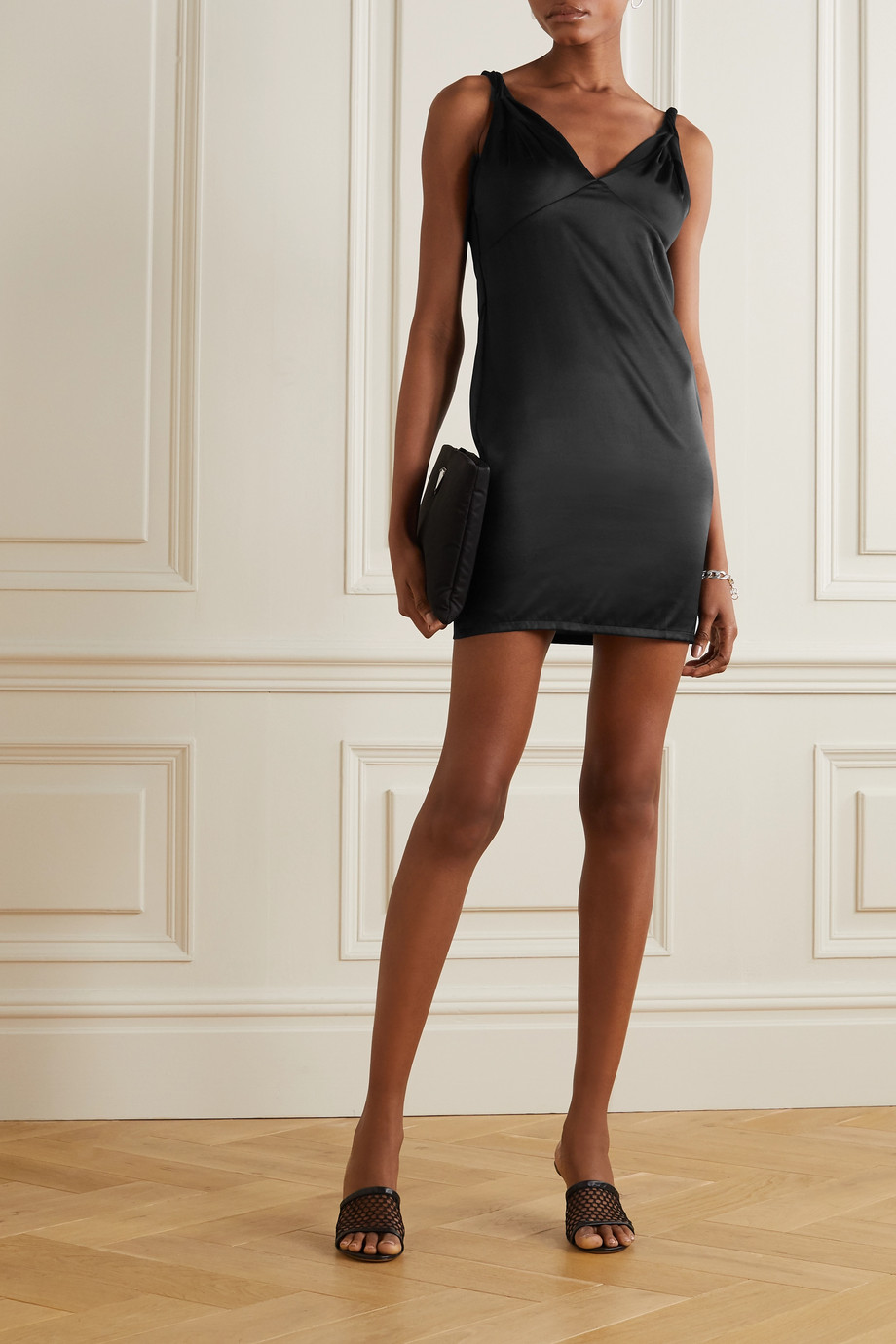 RtA Laura silk-satin and stretch-tulle mini dress