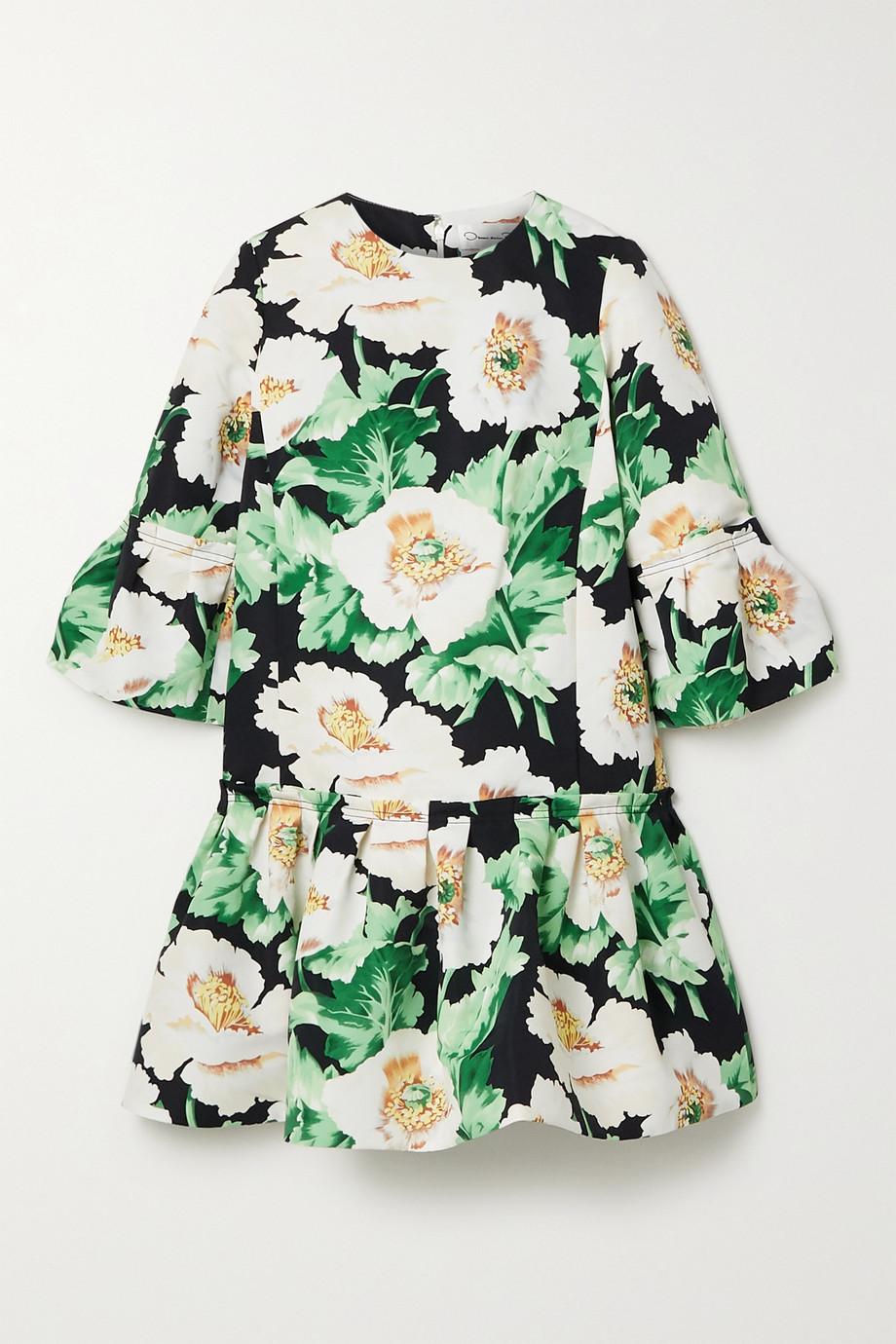 Oscar de la Renta Pleated floral-print faille mini dress