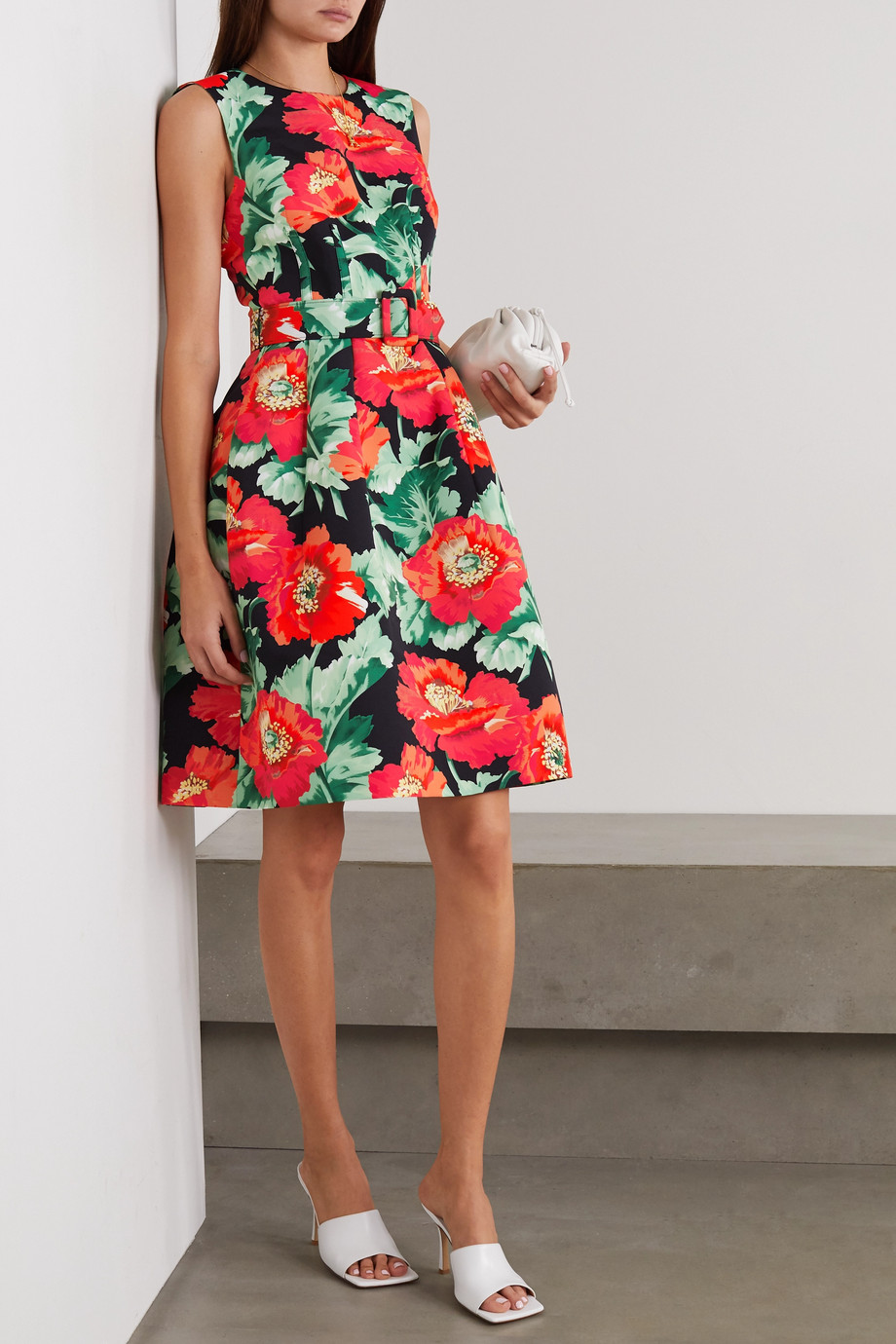 Oscar de la Renta Belted floral-print faille dress