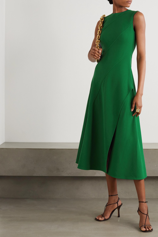 Oscar de la Renta Paneled wool-blend crepe midi dress