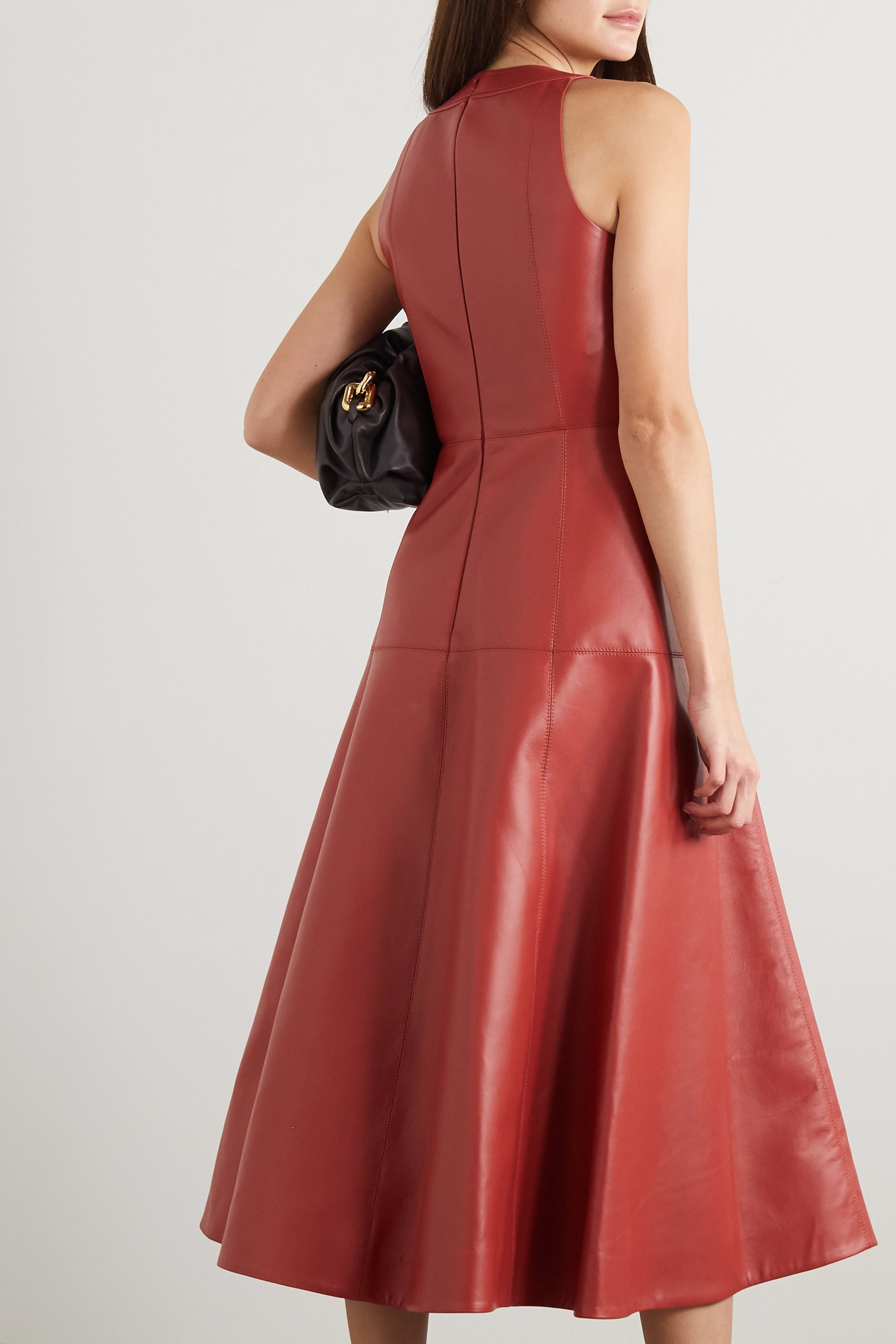 Oscar de la Renta Paneled leather midi dress