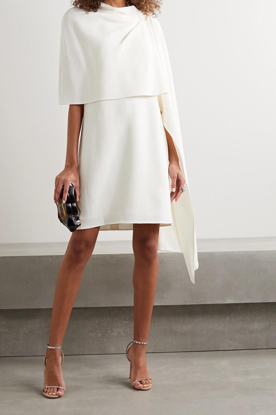 Oscar de la Renta 分层式垂坠羊毛混纺绉纱迷你连衣裙