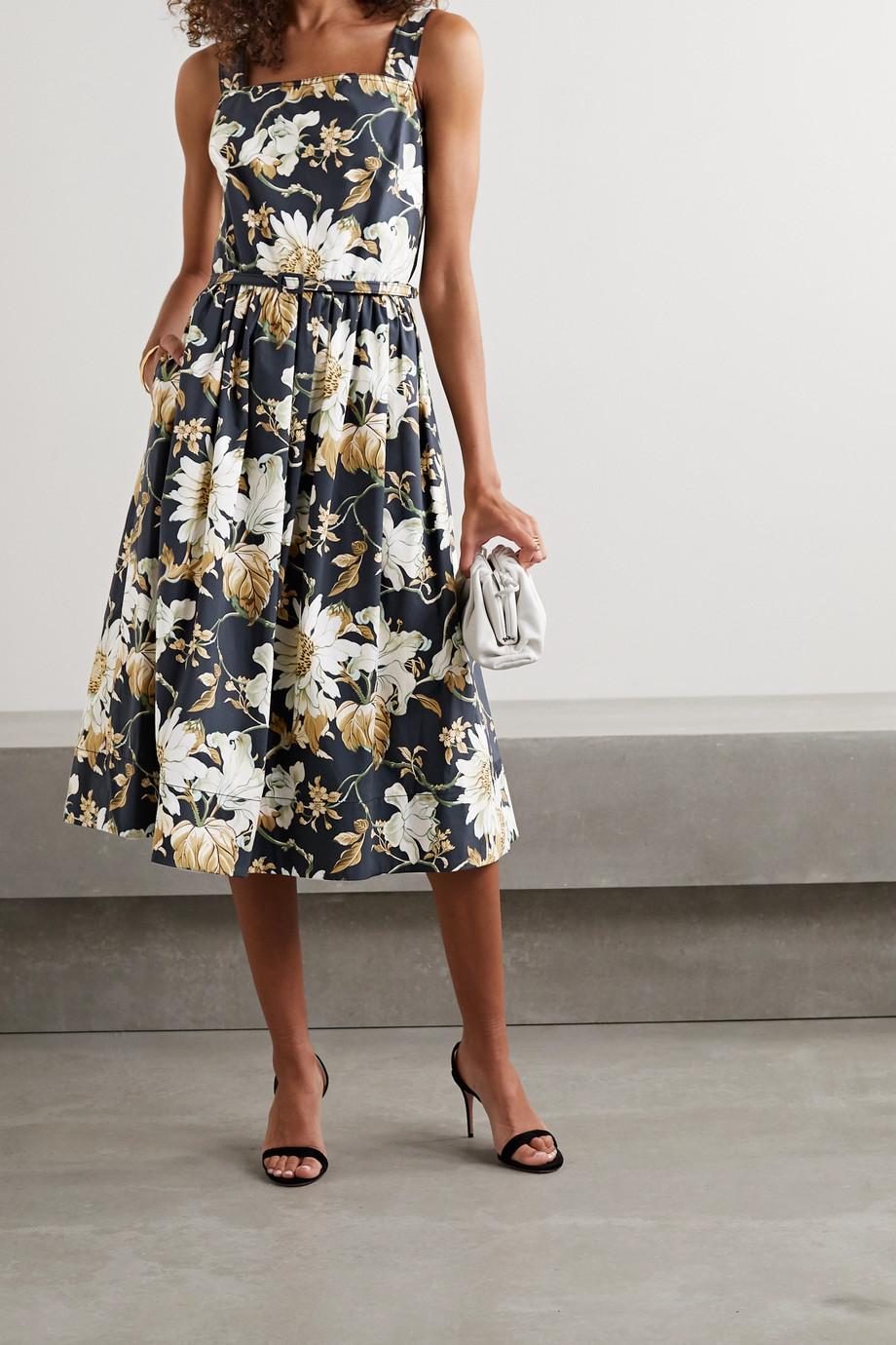 Oscar de la Renta Belted floral-print cotton-blend poplin midi dress