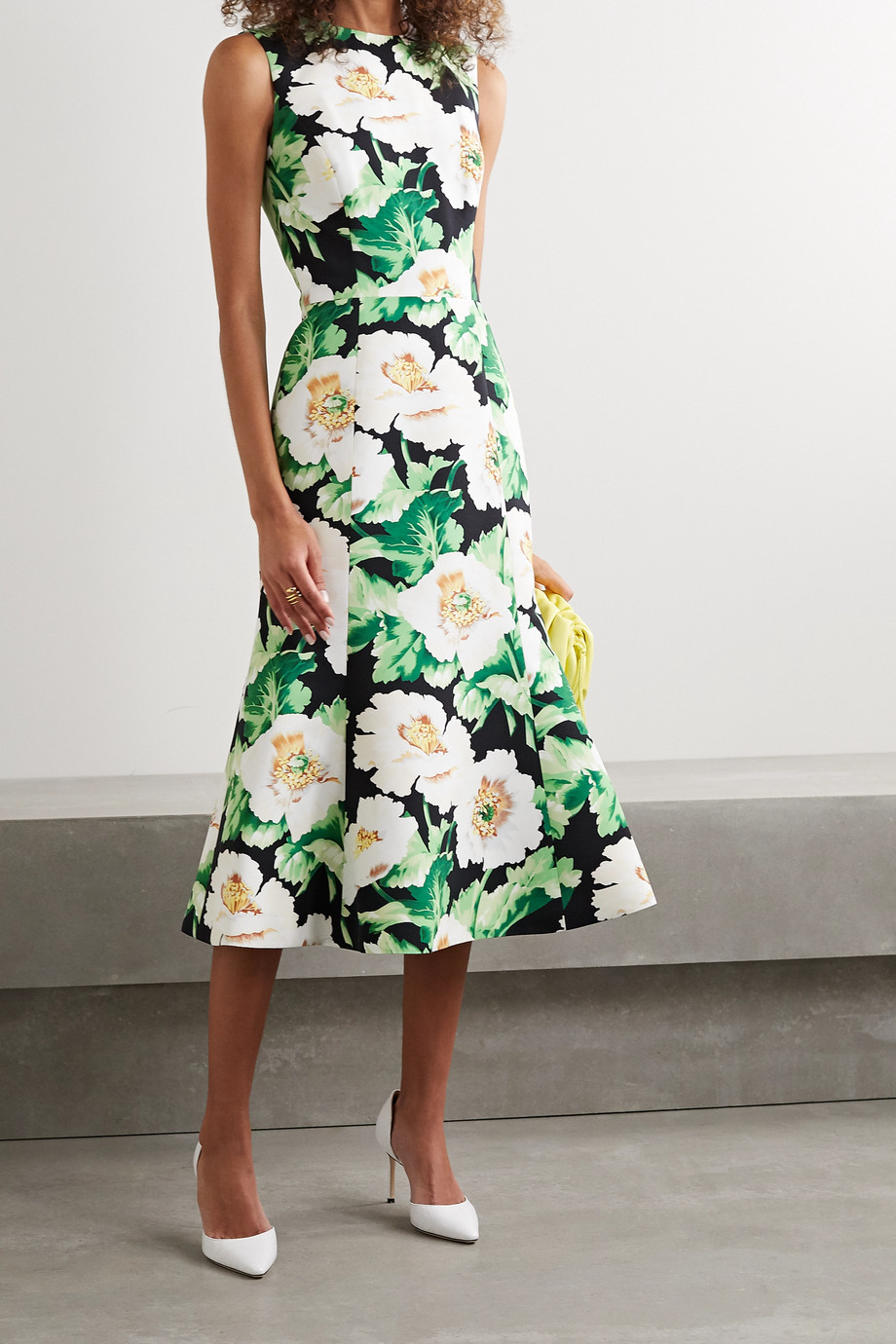 Oscar de la Renta Floral-print faille midi dress