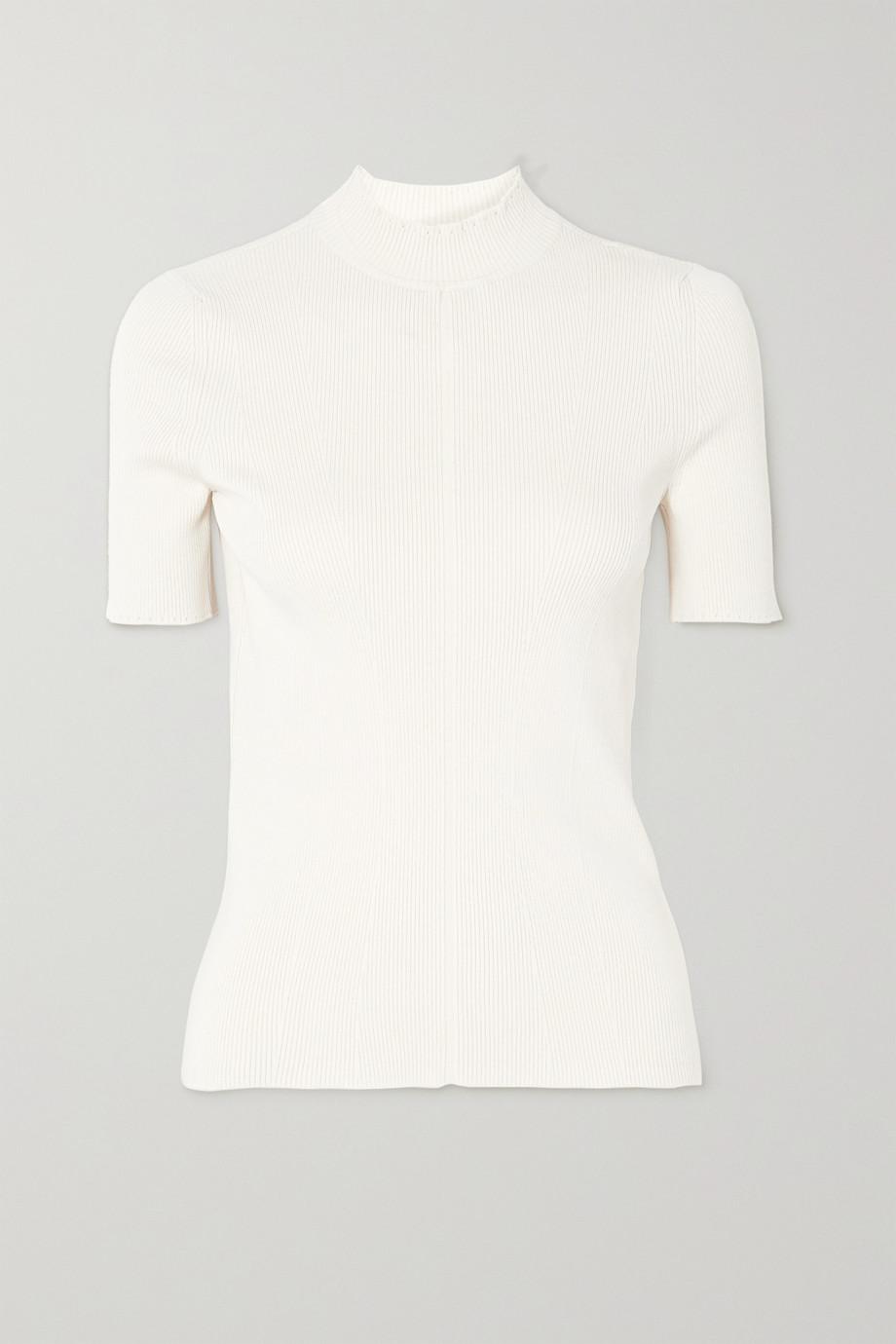 Oscar de la Renta Ribbed silk-blend sweater