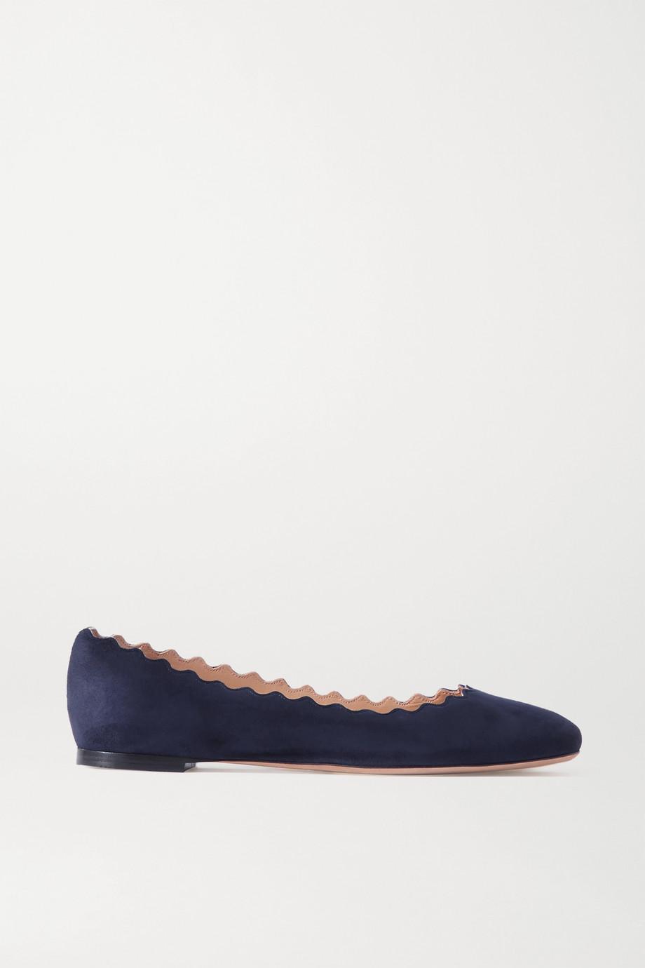 Chloé Lauren 扇贝边绒面革芭蕾平底鞋