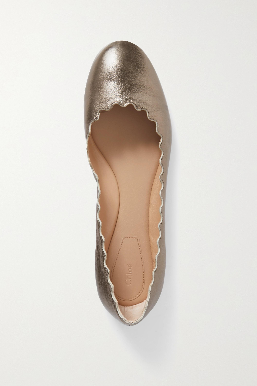 Chloé Lauren scalloped metallic cracked-leather ballet flats