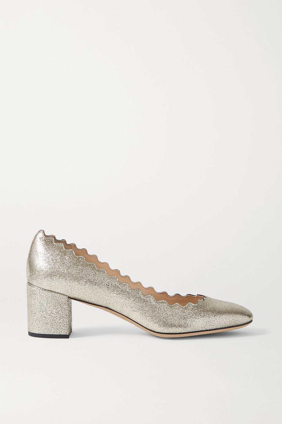Chloé Lauren scalloped metallic cracked-leather pumps