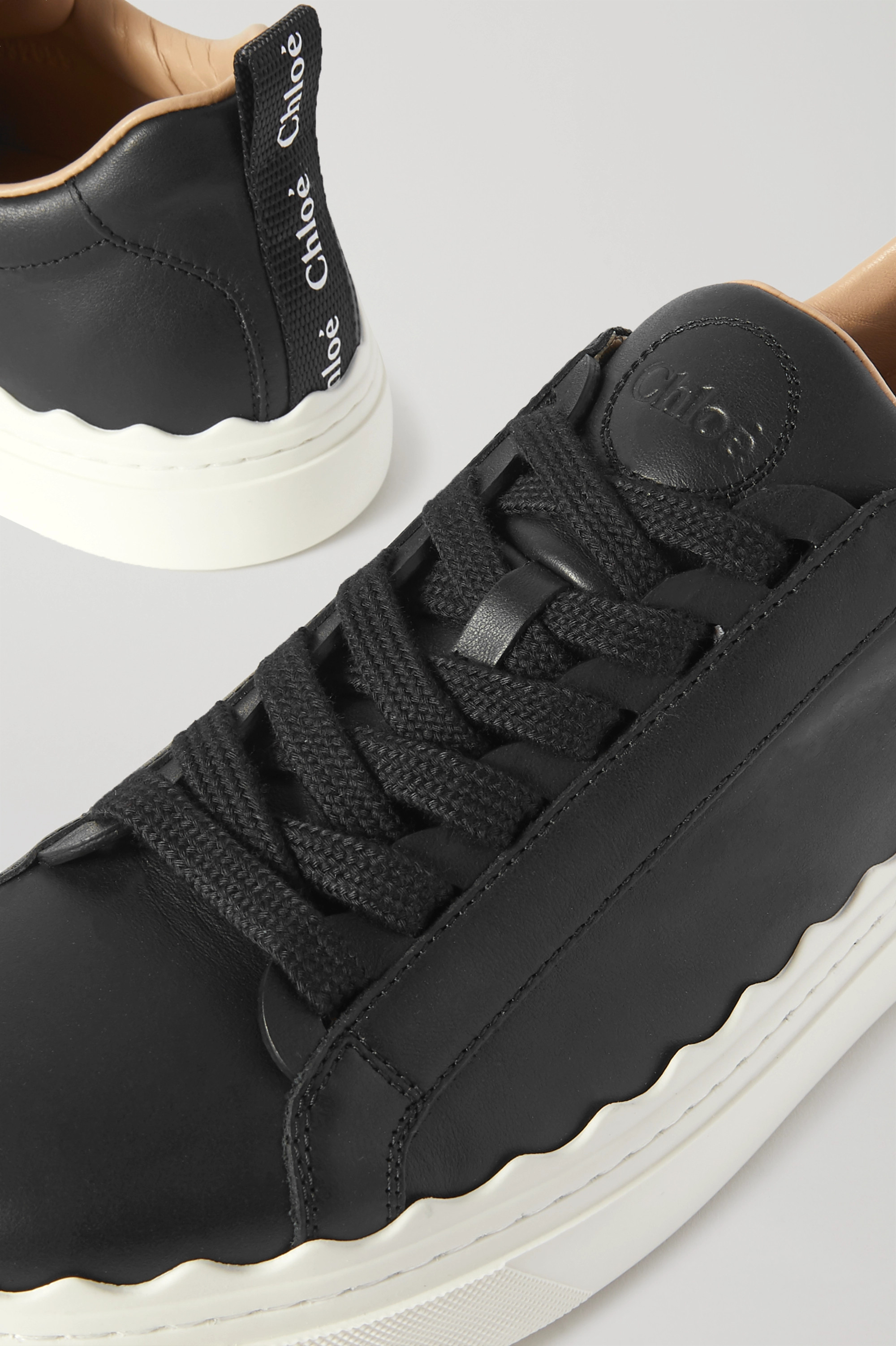 Chloé Lauren scalloped leather sneakers