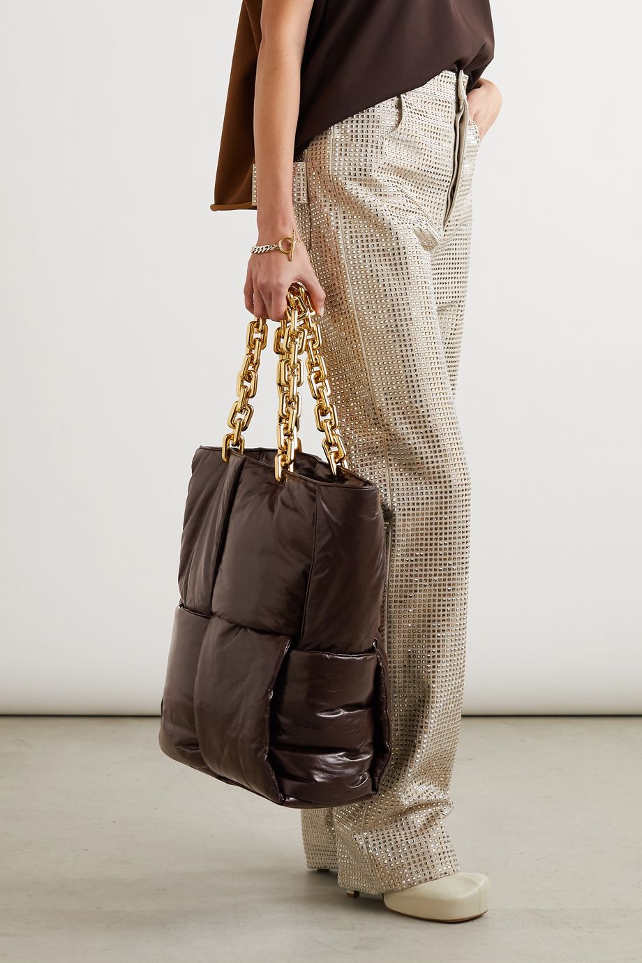 Bottega Veneta Double medium intrecciato crinkled glossed-leather tote