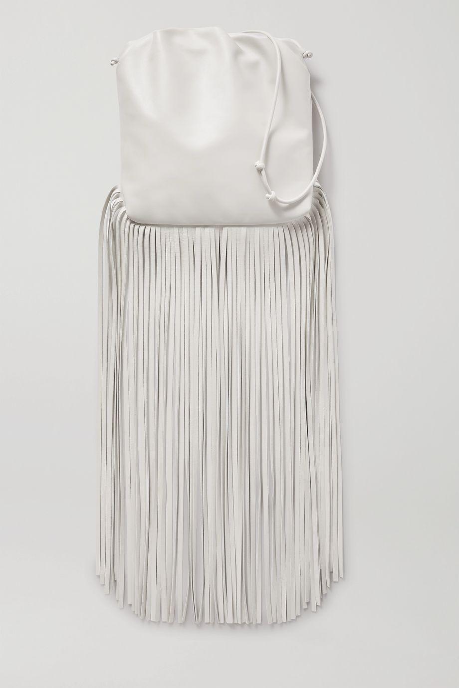 Bottega Veneta Fringe Schultertasche aus Leder mit Raffungen