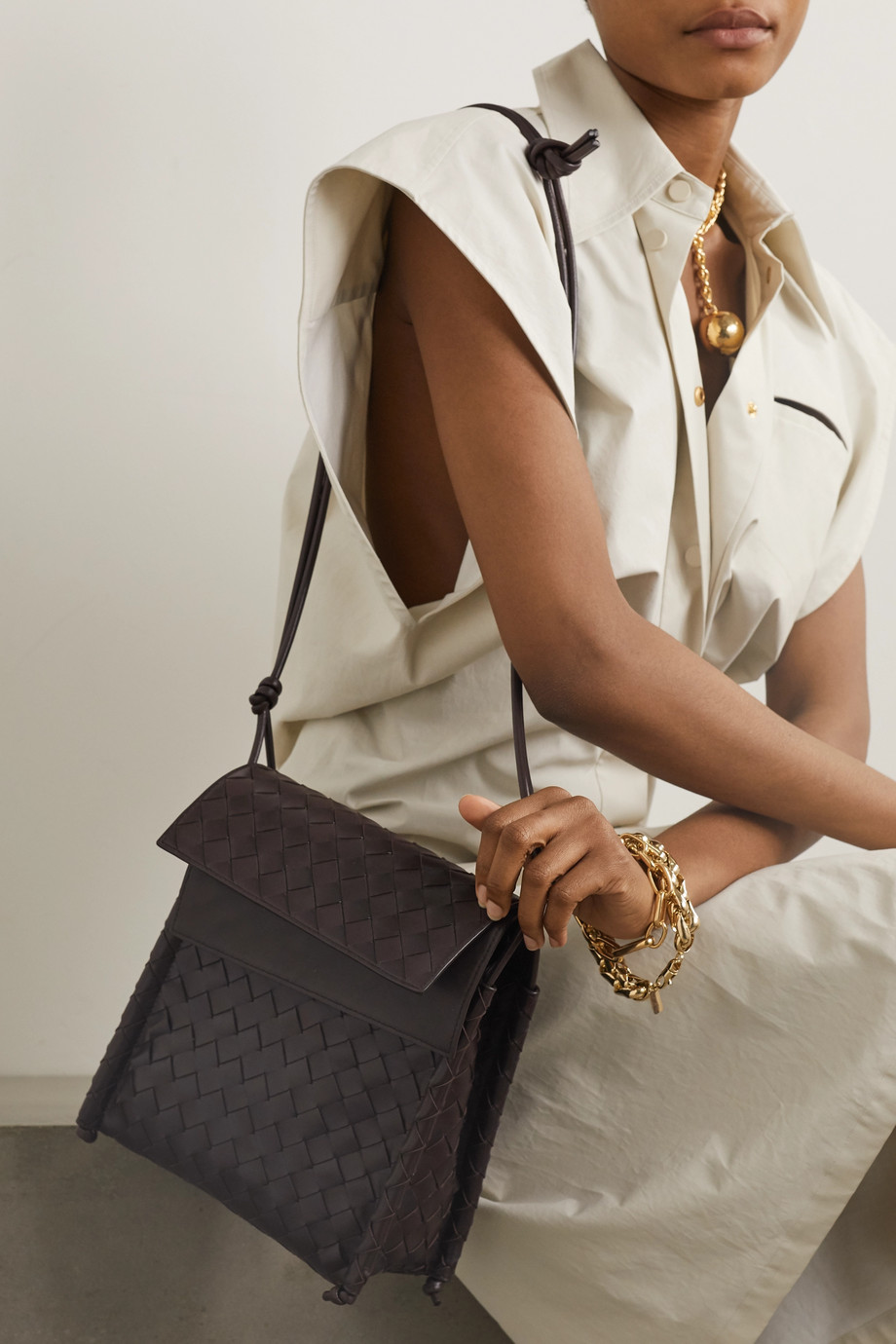 Bottega Veneta Fold intrecciato leather shoulder bag