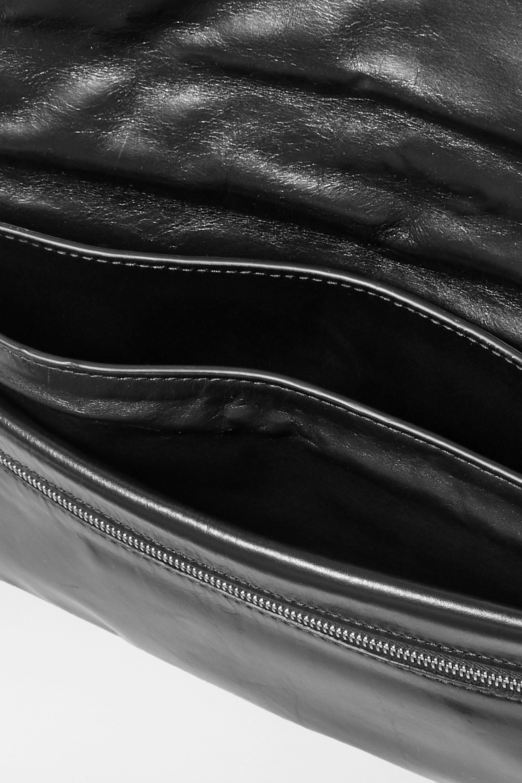 Bottega Veneta Ruched glossed-leather clutch