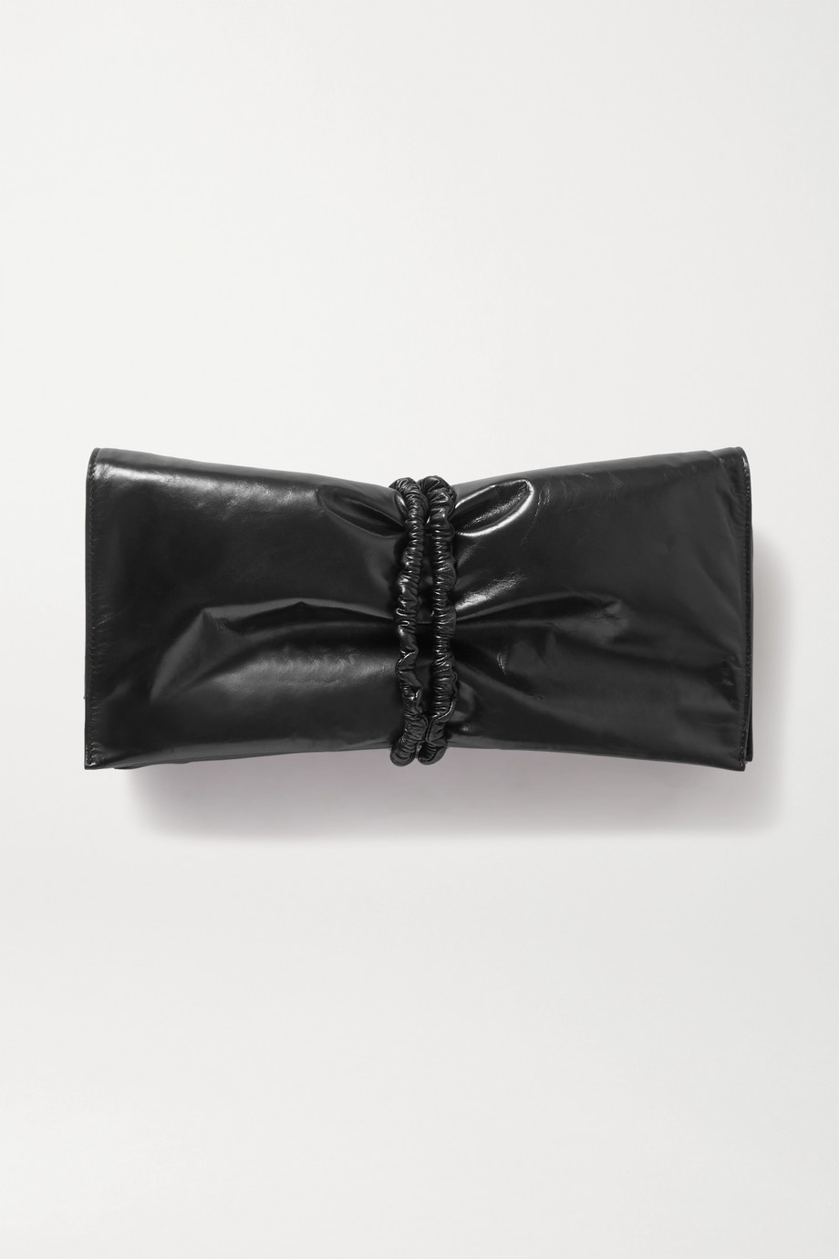 Bottega Veneta Ruched glossed-leather clutch