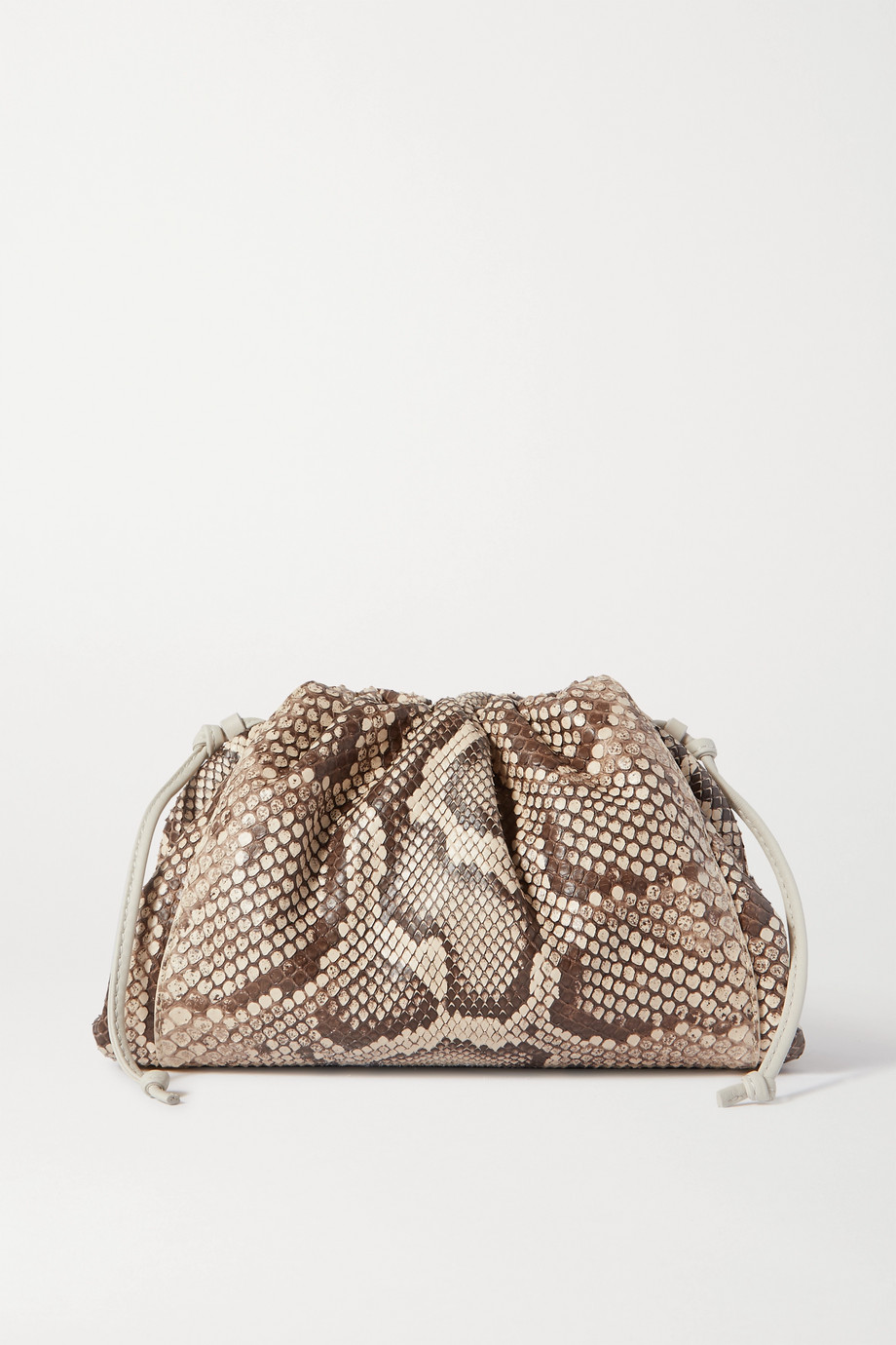 Bottega Veneta The Pouch small leather-trimmed python clutch