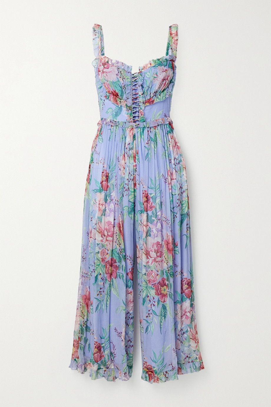 Zimmermann Bellitude cutout ruffled floral-print silk-crepon jumpsuit