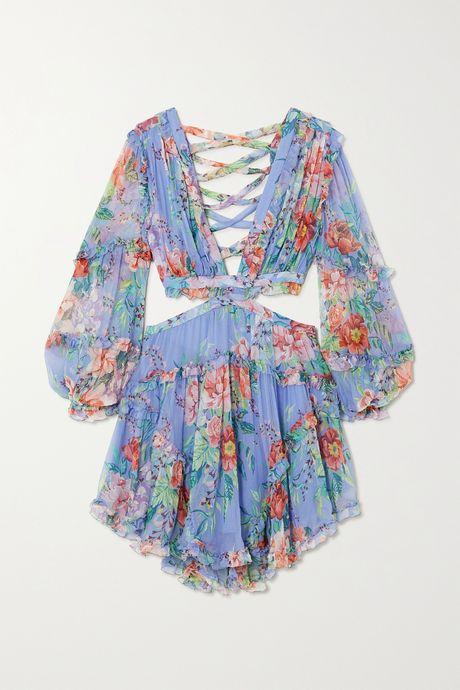Light blue Bellitude cutout floral-print silk-crepon mini dress | Zimmermann tJk4UC
